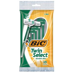 BIC Twin Select Sensitive Skin Disposable Razor Чоловічі одноразові станки для гоління, 10 шт.