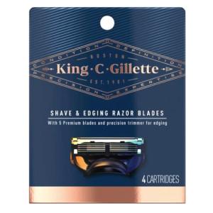 King C Gillette Men's 5 Blade Shave & Edging Razor Blades Сменные кассеты для мужской бритвы, 4 шт.
