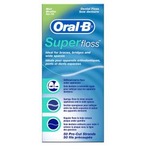 Oral-B Super Floss for Braces, Bridges and Wide Gaps Зубна нитка для чищення брекетів, мостовидних протезів та широких міжзубних проміжків, 50 шт