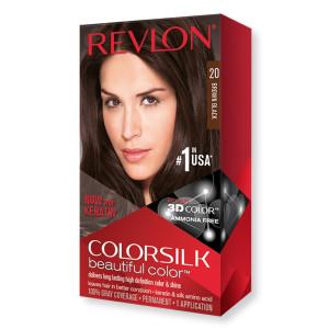 Revlon ColorSilk Beautiful Color Стойкая краска для волос оттенок 20 Brown Black (Коричнево-черный)