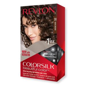 Revlon ColorSilk Beautiful Color Стойкая краска для волос оттенок 30 Dark Brown (Темно-коричневый)