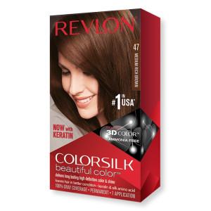 Revlon ColorSilk Beautiful Color Стойкая краска для волос оттенок 47 Medium Rich Brown (Средний насыщенный коричневый)